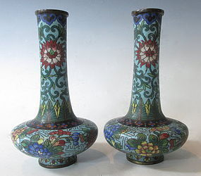 Chinese Antique Pair of Small Cloisonne Vases