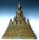 Burmese Antique Burmese Guilt bronze sitting Buddha