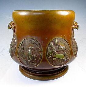 Antique bronze Japanese Hibachi