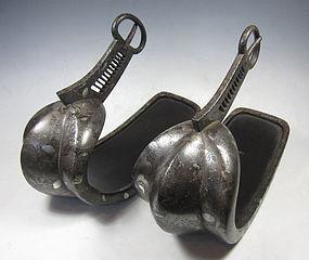 Japanese Antique Pair of Inlaid Abumi (Stirrups)