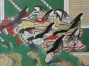 Antique Japanese Six Panel Gold Screen