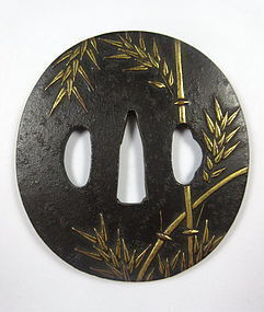 Antique Japanese Iron Tsuba with Gold Inlay Bamboo