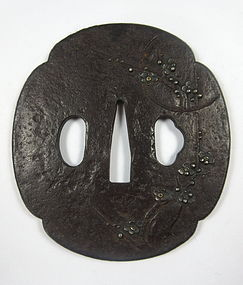 Antique Japanese Iron Tsuba with Inlay