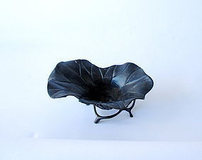 Antique Japanese Bronze Lotus Container
