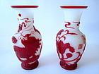Pair of Vintage Fu Dog and Flower Peking Glass Vases