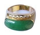 Chinese Untreated Jadeite Ring with 18k Gold