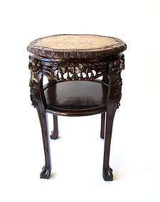 Large Chinese Rosewood Marble Stand