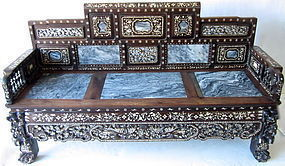 Antique Chinese Hardwood Bench with Marble and Inlay