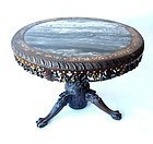 Antique Chinese Hardwood Table with Marble and Inlay