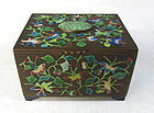 Antique Chinese Box with Cloisonne and Jade Flowers