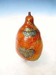 Antique Japanese Lacquered Gourd Container