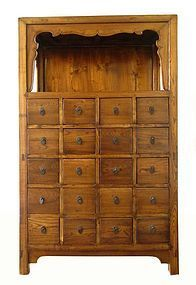 Antique Chinese Herb Cabinet with Display