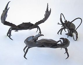 Vintage Japanese Iron Crab and Lobster Set