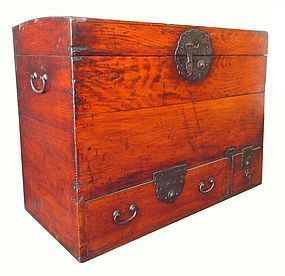 Antique Japanese Red Toned Wood Trunk