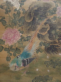 Antique Chinese Painted Scroll of Two Birds