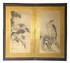 Antique Japanese 17th Century Two-Panel Screen of Hawks