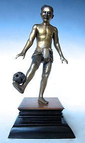 Chinese Gilt Bronze Figure of Ball player
