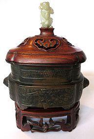 Antique Chinese Bronze Senser with Jade Figure