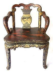 Chinese Red and Gold Lacquered Chair