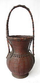 Japanese Antique Ikebana Basket Signed Showchikusi
