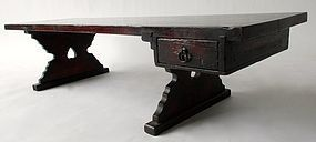 Antique Japanese Keyaki writing Desk