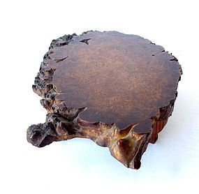 Antique Japanese Small Burl Wood Stand