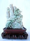 Chinese Jadeite Bamboo and Tree Carving with Stand