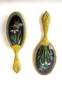 Antique Japanese Hand Mirror and Brush Pair