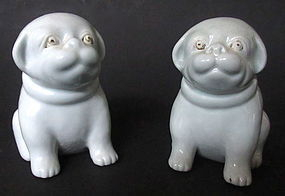 Antique Japanese Pair of Hirado-Ware Puppies