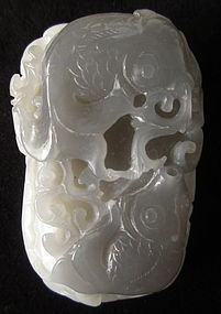 Antique Chinese Grey Jade Carving of Fish