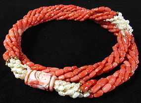 Chinese Multi Strand Coral and Pearl Necklace