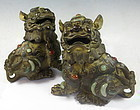 Chinese Pair of Bronze Fu Dog Censors