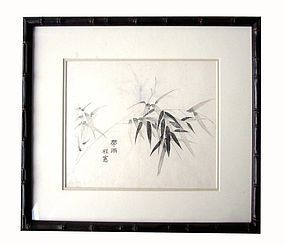 Chinese Painting of Bamboo and Leaves in carved frame