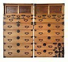 Antique Japanese Pair of 2-Section Tansu