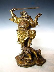 Antique Chinese Statue of Demon Queller Zhong Kui