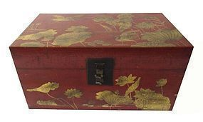 Chinese Lacquered Trunk with Lotuses