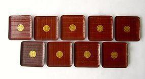 Antique Japanese Set of Nine Wood Trays