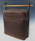 Japanese Antique Stacking Bento Basket with Handle