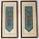 Framed Antique Pair of Chinese Finely woven sleeves
