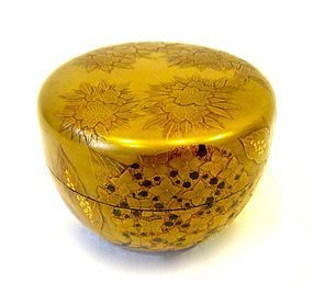 Antique Japanese Gold Lacquer Tea Caddy (Natsume)
