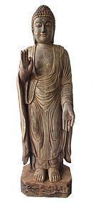 Antique Japanese Carved Wooden Buddha