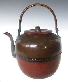 Antique Japanese Bronze and Copper Tea Kettle