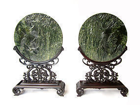 Pair of Nephrite Plaque with Wood Carved Stands