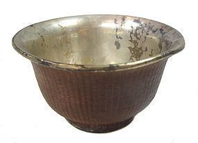 Antique Chinese Woven Cup with Silver lining.