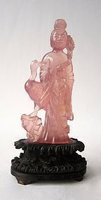 Antique Chinese Rose Quartz Maiden with Crane