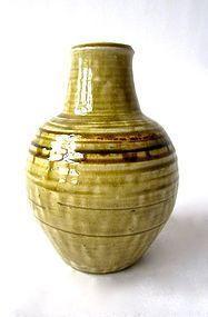 Vintage Japanese Ash Glaze Celedon Vase