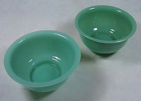 Antique Chinese Pair of Peking Glass Bowls