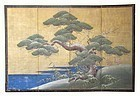 Antique Japanese Four Panel Screen