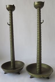 Pair Antique Japanese Bronze Bamboo style Candle stick Holders