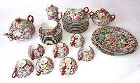 Antique Chinese 33-Piece Porcelain Tea Set